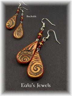 Red magic swirl earrings by Shatiel85.deviantart.com on @DeviantArt