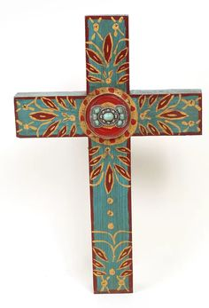 Turquoise Concho Cross-Mexican Folk by RanchoAdobe on Etsy Painted Wooden Crosses, Wood Crosses, Cross Wall Decor, Crosses Decor, Navajo Art, Cross Art, Cross Paintings, Canvas Paintings, Arte Popular