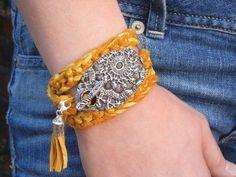 Boho Jewelry, Bohemian Leather Wrap Bracelet, Sterling Hippie Jewelry