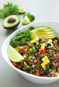 Spicy Red Quinoa Salad - A delicious salad that is filled with vegan protein, delicious veggies, and a spicy kick of flavor. Great as a meal in itself or as a side dish. Also tasty with grilled shrimp or chicken added on top. | passmesometasty.com