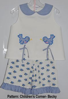 Love the appliques to match pants!  Children's Corner pattern Becky