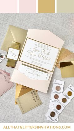 Blush and Gold Wedding Invitation Suite, Pocket Wedding Invitations, Blush and Gold Wedding Inspiration Whimsical Wedding Invitations, Monogram Wedding Invitations, Glitter Invitations, Wedding Stationery, Pink And Gold Wedding, Wedding Inspiration, Wedding Ideas, Wedding Trends, Rustic Wedding