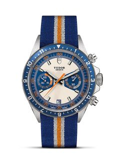 Explore the TUDOR collection of classic, sport, diving and heritage-inspired watches, all Swiss-made, on the Official TUDOR Website Die Tudors, Tudor Black Bay, Opaline, Chronograph, Bracelet Watch, Blue, Satin Finish, Swiss Watch, Orange Fabric