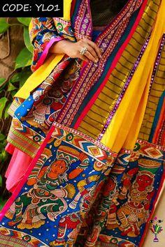 Kalamkari Saree, Indian Salwar Kameez, Dress Makeover, Indian Fashion, Women's Fashion, Elegant Designs, Cotton Textile, Indian Wedding Outfits, Beautiful Saree