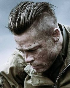 Has anyone seen Brad Pitt haircut in the movie Fury? I remember reading something about Brad Pitt with an undercut earlier this year in 2014 and one of the mods posted a lot of pictures of Brad Pitts Military Haircuts Men, Trendy Mens Haircuts, Military Hairstyles, Boy Haircuts, Modern Haircuts, Short Haircuts, Undercut Men, Undercut Hairstyles, Viking Hairstyles
