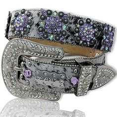 Purple Rhinestone Western Belts | PURPLE Berry Concho White Brindle Rhinestone Belt XL