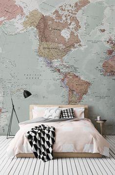 Para todos los adictos de viaje! Este papel pintado maravilloso mapa abarca bellos tonos apagados, por lo que es muy versátil para cualquier habitación de la casa.