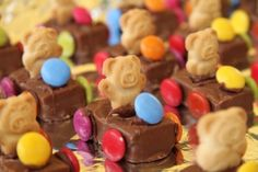 Teddy Bear Racing Cars for kids party food. Just get some Milky Ways or Mars Bars, push some tiny teddies biscuits in each one and add 4 m wheels to the sides & an m for a steering wheel. So cute & easy!