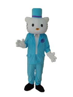New Hello Kitty in Blue Suit Mascot Adult Costume
