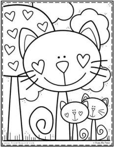 Cat Coloring Page, Coloring Book Pages, Printable Coloring Pages, Coloring Pages For Kids, Art Drawings For Kids, Drawing For Kids, Easy Drawings, Art For Kids, Kindergarten Coloring Pages