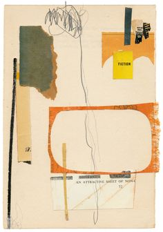 """160719: An Attractive Sheet of Fiction, 8.5x6"""", book collage on paper"""