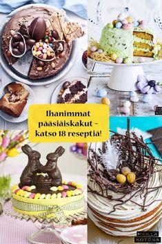 Pääsiäiskakku julistaa kevään tulleeksi! Kokosimme 18 kakkua, jotka näyttävät suloisilta ja kesyttävät makeanhimon. #meilläkotona #meilläkotonafi #pääsiäinen #pääsiäisleivonta #pääsiäisleivonnaiset #pääsiäiskakku #täytekakku Birthday Cake, Breakfast, Desserts, Food, Morning Coffee, Tailgate Desserts, Deserts, Birthday Cakes, Essen