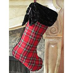 @Overstock.com - Christmas Plaid Stocking by Selections by Chaumont - Fill your home with Yuletide cheer   Design: Tartan PlaidBlack velvet cuff and crystal stone buckle accents  http://www.overstock.com/Home-Garden/Christmas-Plaid-Stocking-by-Selections-by-Chaumont/6265379/product.html?CID=214117 $16.49