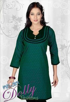 Green Baltic Printed Green Cotton Kurti/ Indian Tunic Top