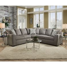 Simmons Upholstery Venture Smoke Sectional - Free Shipping Today - Overstock.com - 18370837 - Mobile
