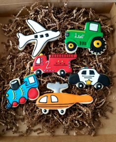 Transportation cookies royal icing sugar cookies  train cookie tractor cookie police cookie boy birthday party favor Etsy KessaCakes