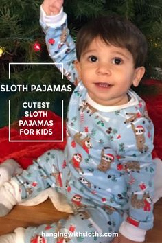 How cute would the kids be in matching sloth pajamas for their annual Christmas Eve photo! Sloth Pajamas, Kids Pajamas, Pajamas Women, Baby Sloth, Cute Sloth, Christmas Pajamas, Christmas Eve, Sloth Sleeping, Three Toed Sloth