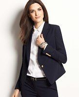 """Stretch One Button Jacket - Tailored in our polished stretch fabric for a fit that won't quit, this flattering-for-all jacket is a stylish nod to everyday bespoke dressing. Notched lapel. Long sleeves with functional sleeve buttons for added styling options. One-button front. Angled welt chest pocket. Angled front besom pockets. Lined. 22 1/4"""" long."""