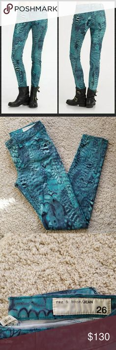 Rag &Bone peacock leggings size 26 Excellent condition rag & bone Jeans Skinny