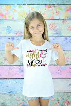 Eight Birthday Shirt - 8th Birthday Girl - Eight Birthday Gift - 8 Year Old - Eight Birthday Outfit - Glitter Birthday T-Shirt