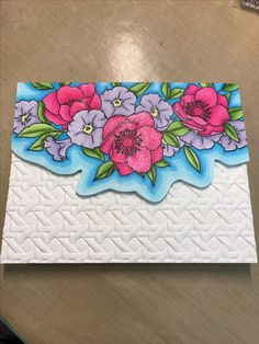 Handmade card created by Meg Shea, Chloe and Phoebe Crafts. Products used: Spellbinders Cane Weave Embossing Folder, Copic Markers, Wplus9 stamps - new clear floral border stamp.