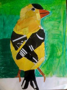 Haley's falcon is highly textured with magazine photos to create the look of feathers.  Sophia's cardinal perches gracefully on . Art Lessons For Kids, Art Lessons Elementary, Art For Kids, Montessori Art, Preschool Arts And Crafts, Paper Collage Art, Animal Art Projects, 4th Grade Art, Art Journal Techniques