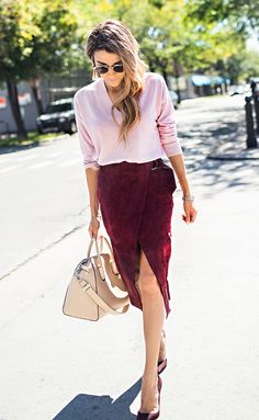 Loving the contrast between this burgundy suede skirt and baby pink cashmere sweater.