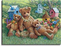 Janet Kruskamp's Paintings - Teddy Bear Paintings Gallery 2 - Offering original oil paintings personally enhanced canvsas transfers hand by Janet Kruskamp - Pansy, Daisy & Viola