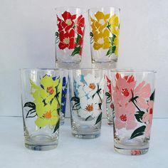 old drinking glasses | Libbey Glasses, Vintage Drinking Glasses, Water Glasses, Painted Roses