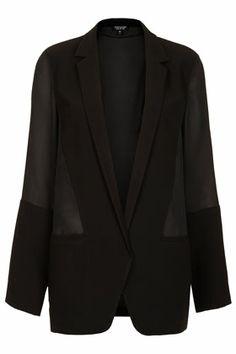 Chiffon Contrast Blazer - Jackets & Coats - Clothing - Topshop