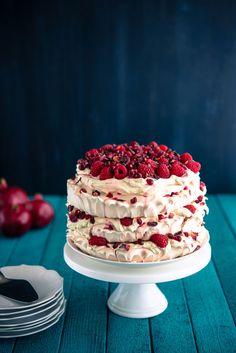 Raspberry Pomegranate Layered Pavlova | The Hungry Australian