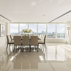 Ultra thin and extra large porcelain floor tiles in contemporary city apartment. #porcelain #tiles #contemporary