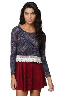 "The women's Crochet Trim Top by LA Hearts for PacSun and PacSun.com offers a paisley print throughout and a cute crochet hem. We love the long sleeves and cropped cut. Wear this stylish top with your high waisted bottoms or skirts!	18"" length	23"" sleeve length	Measured from a size small	Model is 5'9"" and wearing a small	96% polyester, 4% spandex	Machine washable	Made in USA"