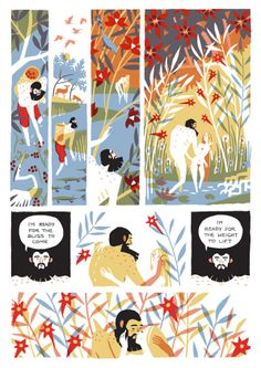 """Eleanor Davis """"In Our Eden"""" (pg2) - """"Davis's short comics have been Tumblr favorites for her artistic style mixing classic illustrative techniques with unsettling observations and sexuality. This first print collection of her stories promises no less."""" – Publishers Weekly"""