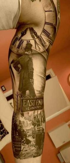 Cool idea of trash polka tattoo on arm