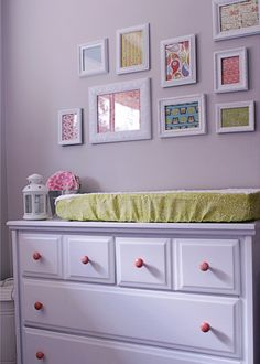 Great way to add color to the walls without painting.... just switch all the girly fabrics for boy colors.