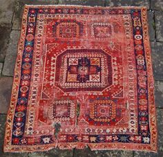 18th century west anatolian bergama rug.Super colours, good age and a rare border design. Condition is poor with holes and wear but a super old rug full of character. I can arrange ...