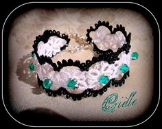 Gothic Charming Bracelet Fedra Black and White  Green by Crielle, €28.00