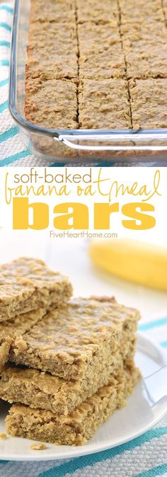 Soft-Baked Banana Oatmeal Bars ~ loaded with wholesome ingredients for a yummy, portable breakfast or snack!   FiveHeartHome.com