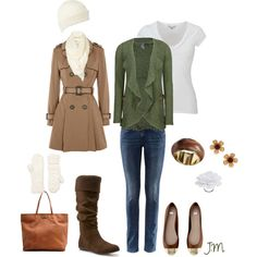 comfy green cardigan, created by jenniemitchell.polyvore.com