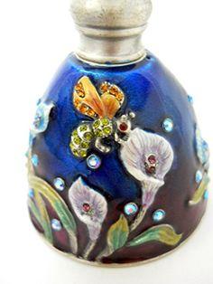 Calla Lily Flower Perfume Bottle Glass Blue Rhinestones Enameled Metal Bees Welforth