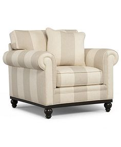 Macy's - Available in solid linen color - $700 - Martha Stewart Collection Living Room Chair, Club Striped Arm Chair