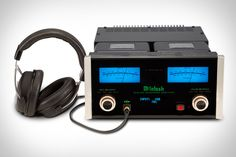 """McIntosh MHA100 Headphone Amplifier - It can handle cans from 8-600 ohms, virtually guaranteeing compatibility, and features a Headphone Crossfeed Director that makes those speakers on your head image like studio monitors, plus four digital inputs, two analog inputs, and 50 watt speaker outputs for when you feel like annoying the entire office with the Quad City DJ's """"Space Jam"""". 