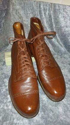 1940 50s CARTER Kidskin US 9.5 D VTG mens shoes Boots