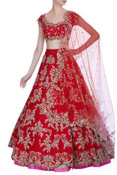 Buy Embroidered Lehenga Set by Anushree Reddy at Aza Fashions - Buy Sequin hand-embroidered raw silk bridal lehenga set by Anushree Reddy at Aza Fashions Effektive - Wedding Lehenga Designs, Designer Bridal Lehenga, Indian Bridal Lehenga, Indian Bridal Outfits, Indian Dresses, Bridal Dresses, Red Lehenga, Eid Dresses, Latest Bridal Lehenga