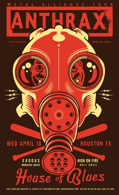 Anthrax - Exodus - High On Fire - Municipal Waste - Holy Grail. #gigposters #musicart #concerts http://www.pinterest.com/TheHitman14/music-poster-art-%2B/