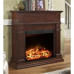Style Selections 44-in Mahogany Flat Wall Electric Fireplace