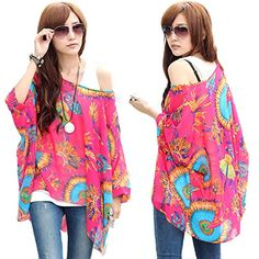 HP95TM Womens Bohemian Style Batwing Sleeve Chiffon Beach Loose Shirt N >>> To view further for this item, visit the image link.Note:It is affiliate link to Amazon.
