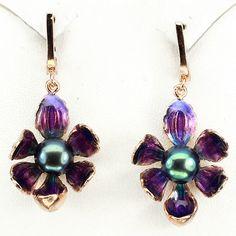 Black Tahitian Colored Pearl & Enamel Flower Earrings