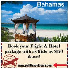 Bahamas Vacation Sale! Book your 2014 or 2015 vacation package to the Bahamas with as little as $150 down! Packages include flight, hotel and options to add rental vehicle, airport transfers and activities. Book up to a year in advance! No interest, no credit check installment plans!  Ask about our discounted group rates!  Request a quote from Amy Jordan, call 816-699-0941 or email amy@swifttraveldeals.com for more information.